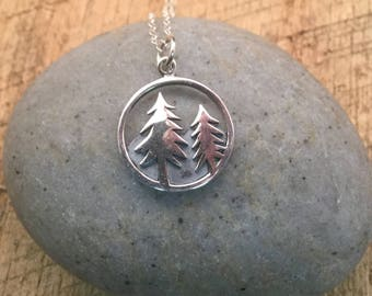 Pine Tree and Mountain Range Pendant, Sterling Silver Necklace, fun gift for Hiker