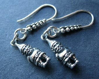 Sterling Silver Gnome Earrings french ear wire hooks