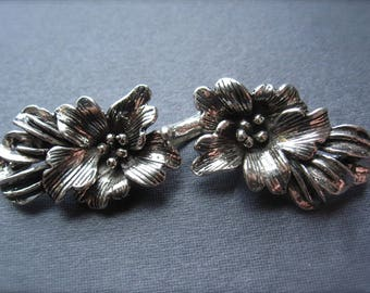 Large Clasp Solid Sterling Silver flower s hook and eye  - oxidized