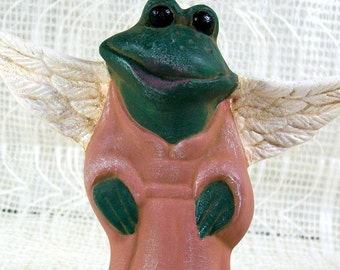 Frog Angel Figurine /  Handmade Ceramic Angel / Frog Statue / Angel Statue / Frog Figurine / Angel Decor / Frog Decor / Angel Gift