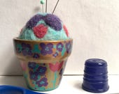 Needle Felted Pin Cushion, OOAK Floral Pin Cushion, Painted Flower Pot, Handcrafted Unique Pincushion, Purple Gold , Cute Gift for Her