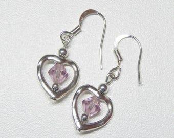 heart shaped dangle earrings with light purple swarovski crystal,purple crystal dangle earrings,heart dangle earrings,silver dangle earrings