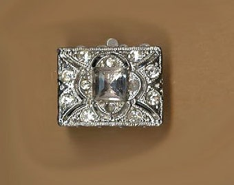 vintage rhinestone clasp ART DECO four strand RECTANGLE rhinestone clasp rare design