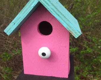 Primitive Birdhouse Pink Blue Chickadee Wren Cute Songbirds
