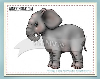 Digital Stamp - Ellie - Baby Elephant printable image