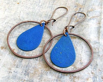 Boho earrings / Patina earrings / blue earrings / copper hoop earrings / bohemian jewelry
