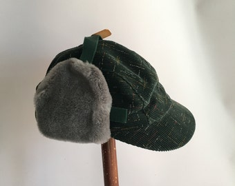 Toddler Size Winter Autumn Hat 1950's Deadstock Green corduroy with Grey Faux Fur Ear Flaps Kids Hat size 6 1/4