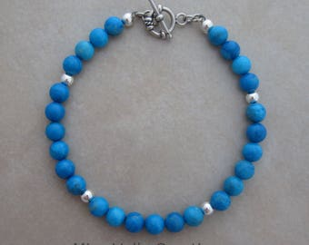 turquoise howlite sterling silver bracelet