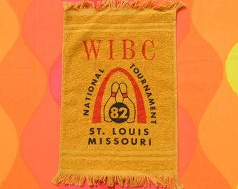 vintage 80s BOWLING towel 1982 wibc tournament st louis missouri arch graphic bowler's brand new
