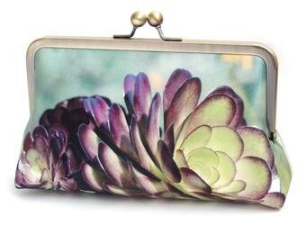 Succulent clutch bag, silk purse, green, purple petals, desert cacti plant, bridesmaid gift