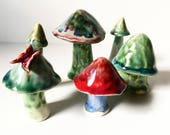 Miniature Hand-formed Porcelain Garden Musrooms - MADE TO ORDER