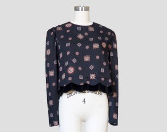 Cropped Long Sleeve Flowy Medallion Print Shirt Sz 14 / Scalloped Velvet Hem