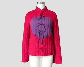 Tie Front Quilted Asian Jacket Sz M
