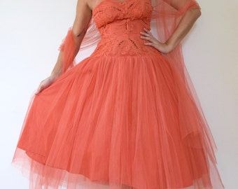 SUMMER SALE/ 30% off Vintage 50s Salmon Orange Mesh Tulle Strapless Sequined New Look T Length Party Dress (size xs, small)