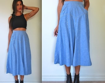 FLASH SALE / 20% off Vintage 80s 90s Varda Garfinkel High Waisted Studded Chambray Skirt (size small)