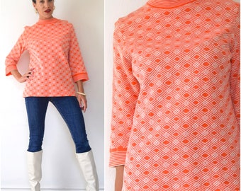 SUMMER SALE / 20% off Vintage 60s 70s Jantzen Mod Bright Orange and White Geometrical Print Box Sleeve Wool Tunic (size medium, large)