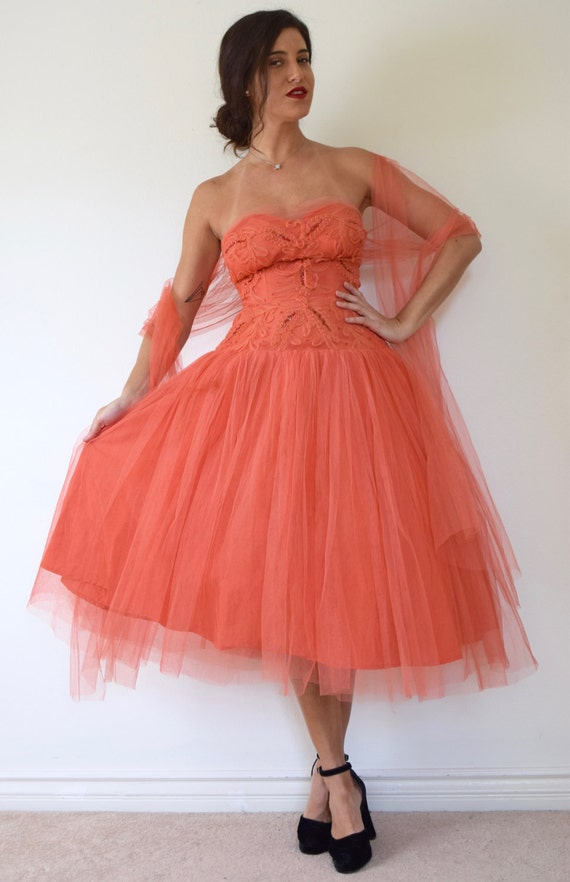 SPRING SALE/ 20% off Vintage 50s Salmon Orange Mesh Tulle Strapless Sequined New Look T Length Party Dress (size xs, small)