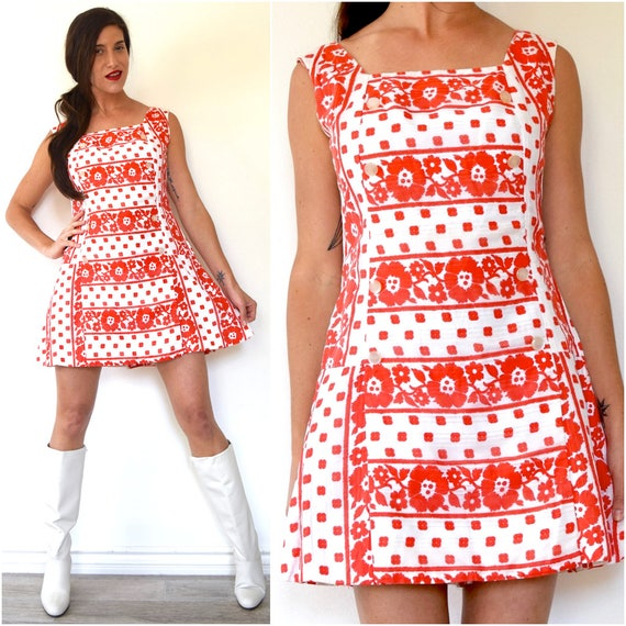 SPRING SALE/ 20% off Vintage 60s Red and White Flower Print Skirted Drop Waist Romper (size medium)