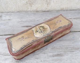 Reserverd to Kristen T Victorian 1890 French dusty pink velvet & paper mache Boudoir  box /gloves box /jewelry box