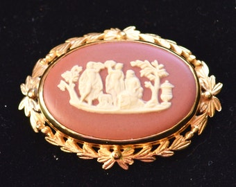 Vintage Wedgwood Jasper Plaque Brooch - Gold Plated - Rare Terracotta and Cream - 'Sacrifice to Peace' - Gift Boxed