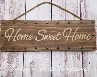 Home sweet home stencil wood sign rustic farmhouse wall decor