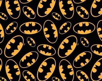 FAT QUARTER - Tossed Bat Emblems, Cotton Print, Black by David Textiles 100% Cotton   SALE