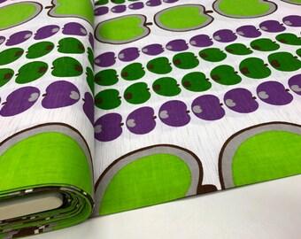 Green Apple Unused Vintage Cotton Fabric by the Yard - 70s fabric - pillowcase fabric - Purple Apple