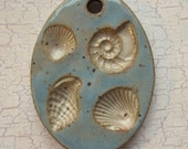 Custom Large Handmade Clay Pottery Pendant Charm or Ornament - Choose Shape and Color - SEA SHELLS