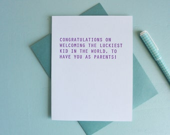Letterpress Greeting Card - Baby Card - Luckiest Baby - GRE-511