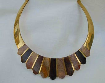 Vintage Eighties Brass and Wood Inlay Sunburst Style Choker Necklace / Made in India / Ethnic Collar Style Necklace