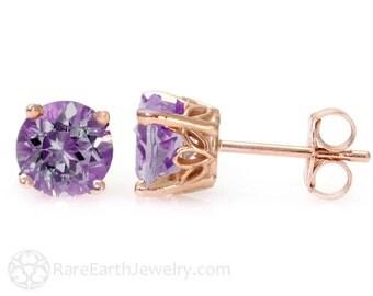 Amethyst Earrings 14K Rose Gold Amethyst Stud Earrings February Birthstone Earrings Posts