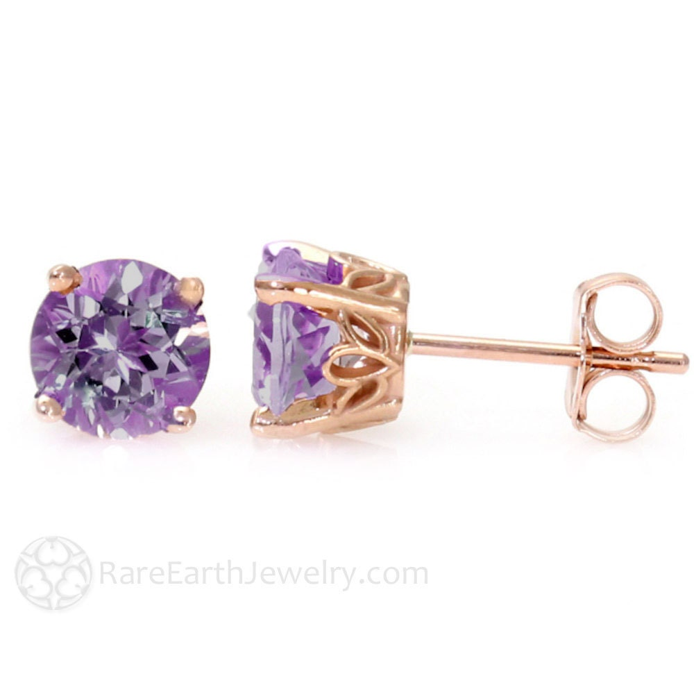 amethyst earrings 14k rose gold amethyst stud earrings. Black Bedroom Furniture Sets. Home Design Ideas