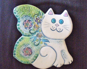 Ceramic Butterfly Cat wall hanging for home or garden
