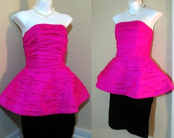 80s Hot Pink Party Dress Black velvet Skirt vintage Prom dress 80s Strapless dress Pink and Black dress Victor Costa 80s Peplum dress XS