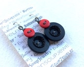 Shabby Chic Black and Red Earrings with Gray Wire made with Vintage Buttons