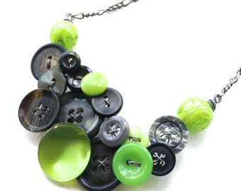 Holiday Jewelry Sale Lime Green and Gray Jewelry Chunky Button Necklace