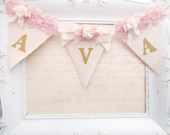 Girl Name Banner, 1st Birthday Banner, Pink and Gold Birthday, Birthday Party Decor, Girl Nursery Decor, Baby Shower Decor, Bridal Shower