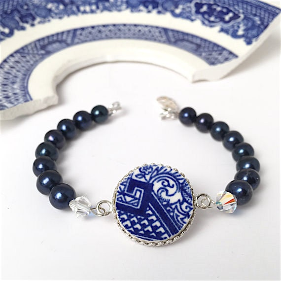 Blue Willow Bracelet Upcycled from DinnerWear Jewelry