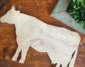 Holy Cow... Vintage Wooden Dairy Cow Wall Hanging Farmhouse Decor Sign Wall Decor