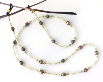 Czech Metallic Faceted Glass Bead Eyeglass Chain - 65