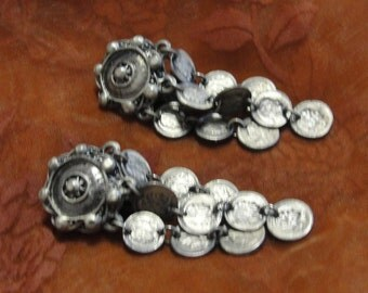 Simulated Silver Tone Coin Clip Earrings