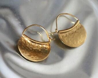 Gold Ear Hoops, Silver Tribal Earrings, Ethnic Jewelry Hoops, Hammered Silver Jewelry, 24k Gold Plated Earrings, Everyday Earrings