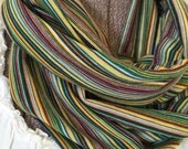 Handmade Multicolor Infinity Scarf Soft Knit Fabric Stripe Green Yellow Turquoise Red Goes with Everything