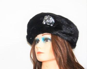 1950 mink hat  Black mink beret  hat real fur