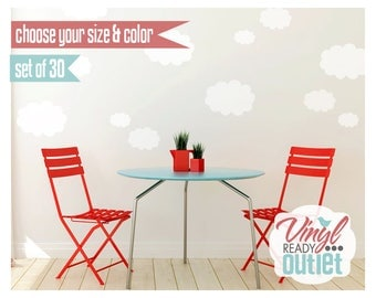 Clouds Vinyl Wall Decals - Set of 30 - Pick your Size & Color!