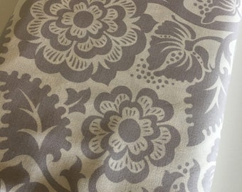 Floral Fabric, Gray White fabric, Rustic Wedding Fabric, Modernist fabric by Joel Dewberry, Block Print Blossom in Smoke- Choose the cut