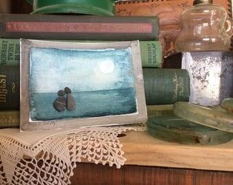 BEACH ART...hand painted watercolor with beach stones, handmade, love token Valentine souvenir, wedding gift