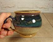 Handmade Pottery Mug in Honey, Purple and Blue - Earthy Stoneware Mug