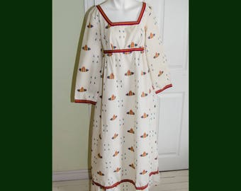 Vintage 1960's Mexican Ethnic Embroidered Hostess Gown Dress
