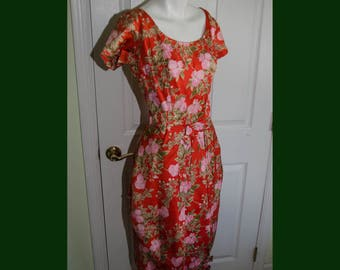 Vintage 1950's Asian Inspired Red Floral Print Dress with Puffy Tulip Skirt